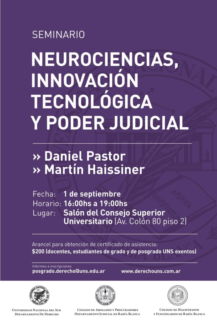 Seminario Neurociencias innovación tecnológica y poder judicial