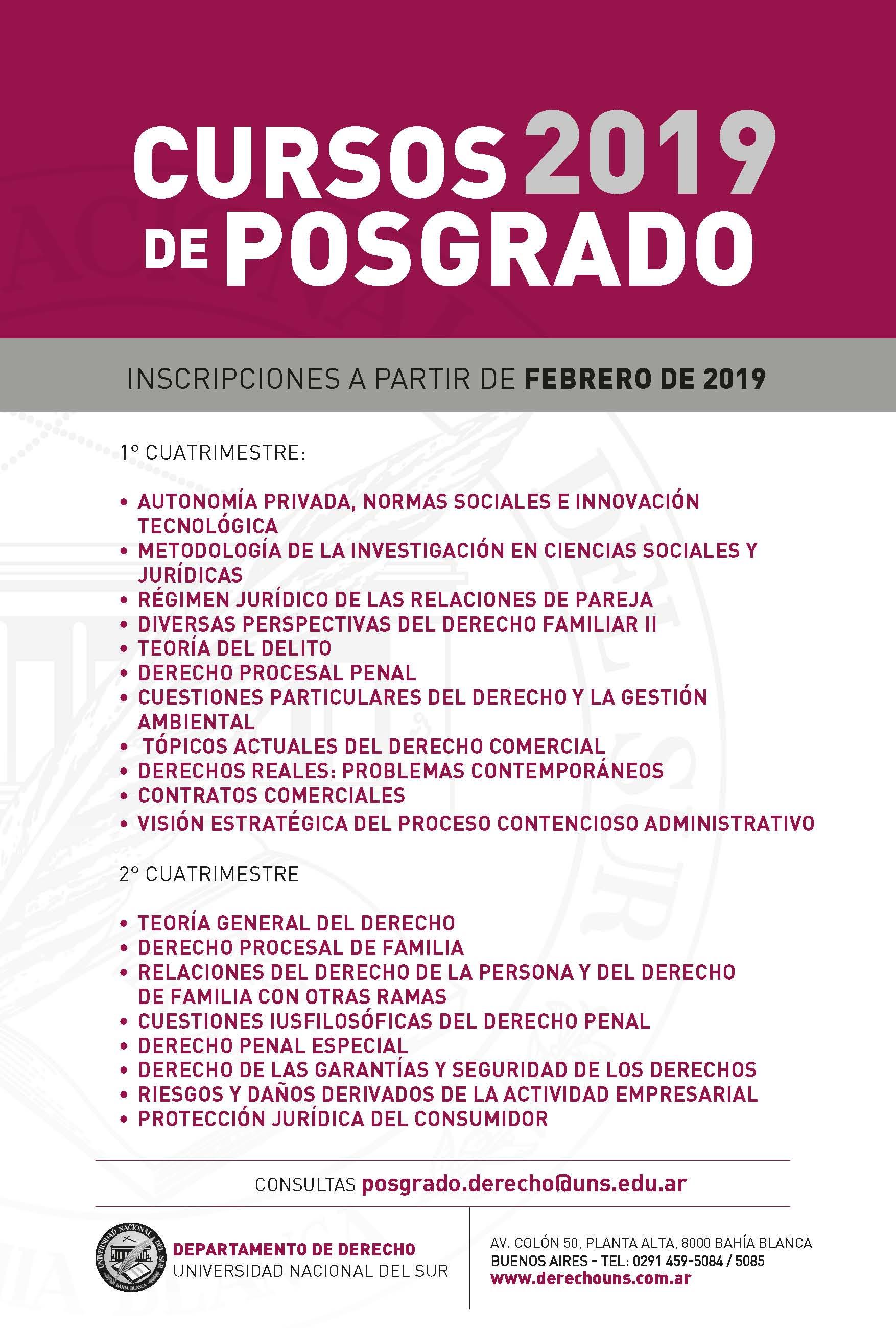 Cursos de Posgrado 2019