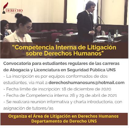 Convocatoria Comp Interna Litigacion DDHH