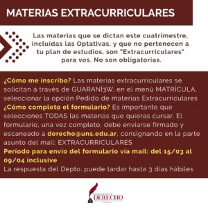 Materias Extracurriculares