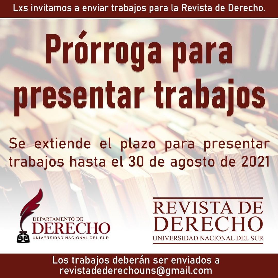 Prórroga Revista derecho UNS