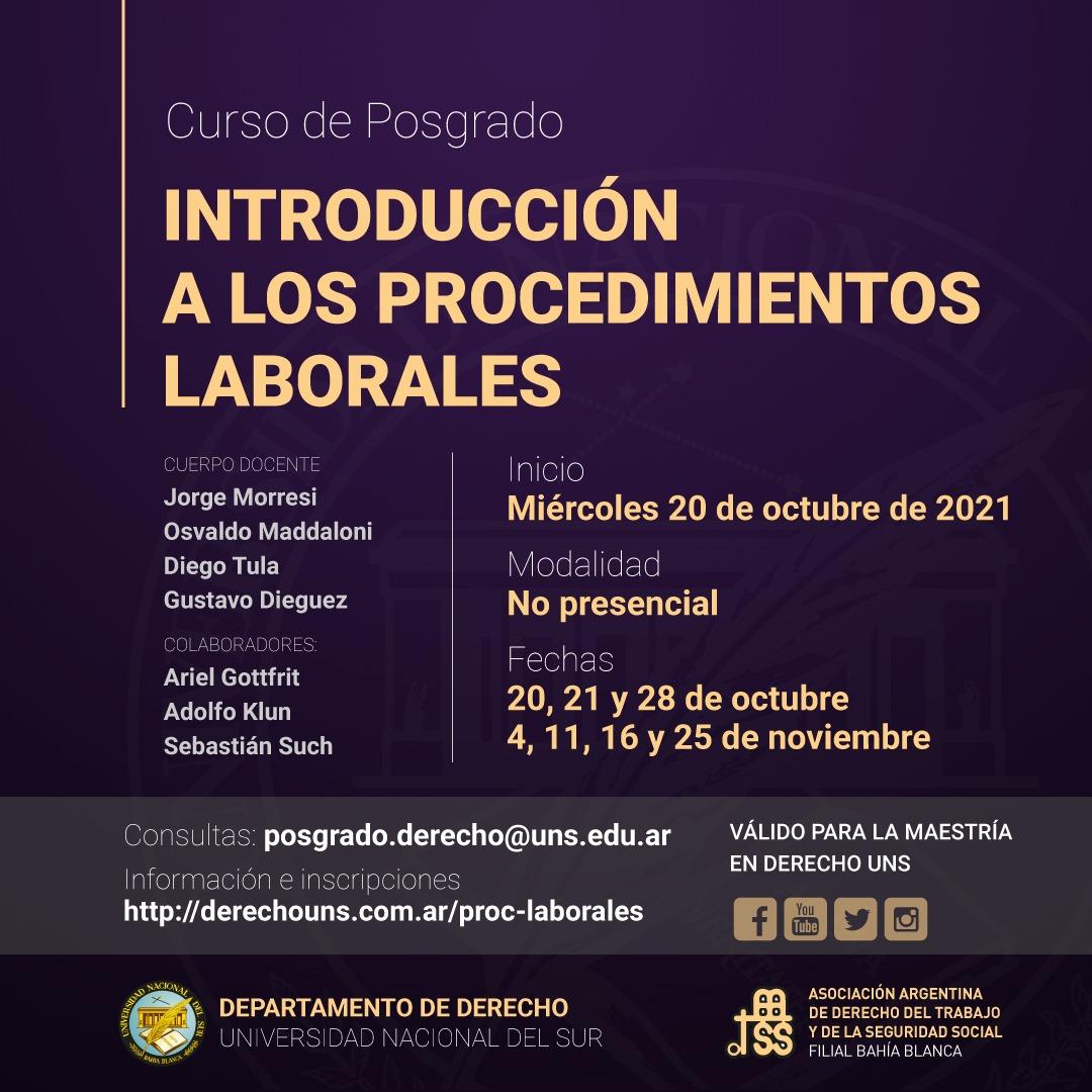 INTRODUCCION A LOS PROCEDIMIENTOS LABORALES (inicio 20-10)